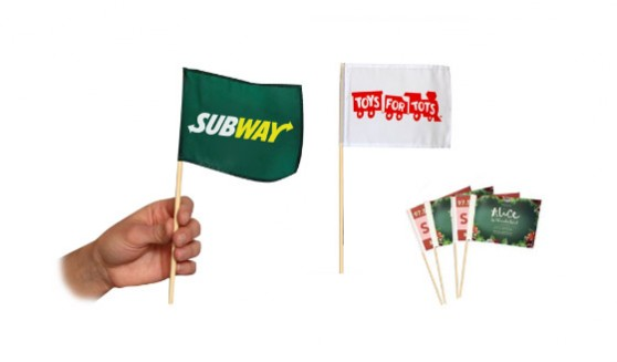 Supplier of quality These hand held flags are fitted onto a 330mm stick to ensure you have ample space to grip and hold the hand held flags.