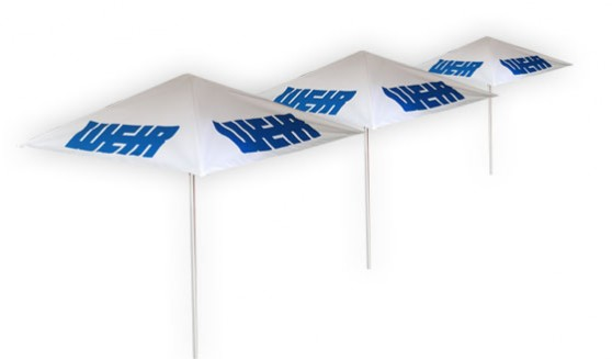 Supplier of quality Printed in full colour using a sublimation printing process and aluminium parasol frame for support to present as a patio umbrella or branded parasol.